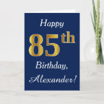 [ Thumbnail: Blue, Faux Gold 85th Birthday + Custom Name Card ]