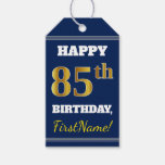 [ Thumbnail: Blue, Faux Gold 85th Birthday + Custom Name Gift Tags ]