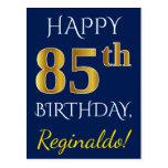 [ Thumbnail: Blue, Faux Gold 85th Birthday + Custom Name Postcard ]