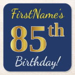 [ Thumbnail: Blue, Faux Gold 85th Birthday + Custom Name Paper Coaster ]