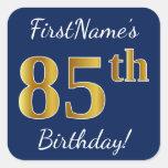[ Thumbnail: Blue, Faux Gold 85th Birthday + Custom Name Sticker ]