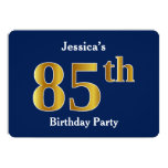 [ Thumbnail: Blue, Faux Gold 85th Birthday Party + Custom Name Invitation ]