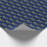 [ Thumbnail: Blue, Faux Gold 85th (Eighty-Fifth) Event Wrapping Paper ]