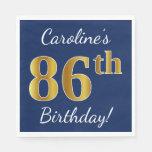 [ Thumbnail: Blue, Faux Gold 86th Birthday + Custom Name Paper Napkin ]
