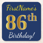 [ Thumbnail: Blue, Faux Gold 86th Birthday + Custom Name Paper Coaster ]