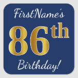 [ Thumbnail: Blue, Faux Gold 86th Birthday + Custom Name Sticker ]