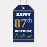[ Thumbnail: Blue, Faux Gold 87th Birthday + Custom Name Gift Tags ]