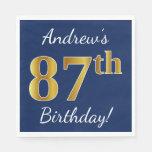[ Thumbnail: Blue, Faux Gold 87th Birthday + Custom Name Napkin ]