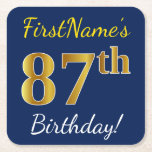 [ Thumbnail: Blue, Faux Gold 87th Birthday + Custom Name Paper Coaster ]