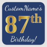 [ Thumbnail: Blue, Faux Gold 87th Birthday + Custom Name Sticker ]