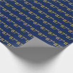 [ Thumbnail: Blue, Faux Gold 87th (Eighty-Seventh) Event Wrapping Paper ]