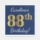 [ Thumbnail: Blue, Faux Gold 88th Birthday + Custom Name Napkin ]