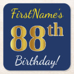 [ Thumbnail: Blue, Faux Gold 88th Birthday + Custom Name Paper Coaster ]