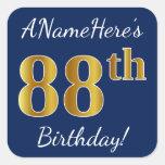 [ Thumbnail: Blue, Faux Gold 88th Birthday + Custom Name Sticker ]