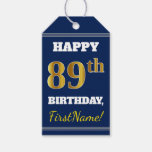 [ Thumbnail: Blue, Faux Gold 89th Birthday + Custom Name Gift Tags ]