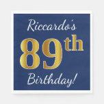 [ Thumbnail: Blue, Faux Gold 89th Birthday + Custom Name Napkin ]