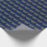 [ Thumbnail: Blue, Faux Gold 89th (Eighty-Ninth) Event Wrapping Paper ]