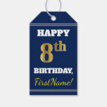 [ Thumbnail: Blue, Faux Gold 8th Birthday + Custom Name Gift Tags ]