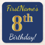 [ Thumbnail: Blue, Faux Gold 8th Birthday + Custom Name Paper Coaster ]