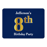 [ Thumbnail: Blue, Faux Gold 8th Birthday Party + Custom Name Invitation ]
