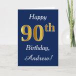 [ Thumbnail: Blue, Faux Gold 90th Birthday + Custom Name Card ]