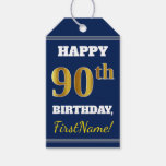 [ Thumbnail: Blue, Faux Gold 90th Birthday + Custom Name Gift Tags ]