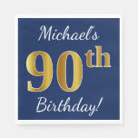[ Thumbnail: Blue, Faux Gold 90th Birthday + Custom Name Paper Napkin ]