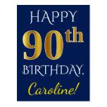 [ Thumbnail: Blue, Faux Gold 90th Birthday + Custom Name Postcard ]