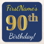 [ Thumbnail: Blue, Faux Gold 90th Birthday + Custom Name Paper Coaster ]