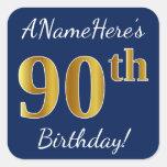 [ Thumbnail: Blue, Faux Gold 90th Birthday + Custom Name Sticker ]