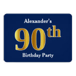 [ Thumbnail: Blue, Faux Gold 90th Birthday Party + Custom Name Invitation ]