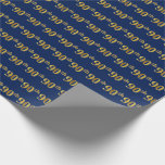 [ Thumbnail: Blue, Faux Gold 90th (Ninetieth) Event Wrapping Paper ]