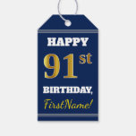 [ Thumbnail: Blue, Faux Gold 91st Birthday + Custom Name Gift Tags ]