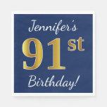 [ Thumbnail: Blue, Faux Gold 91st Birthday + Custom Name Paper Napkin ]