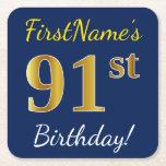 [ Thumbnail: Blue, Faux Gold 91st Birthday + Custom Name Paper Coaster ]
