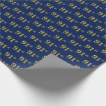 [ Thumbnail: Blue, Faux Gold 91st (Ninety-First) Event Wrapping Paper ]