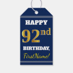 [ Thumbnail: Blue, Faux Gold 92nd Birthday + Custom Name Gift Tags ]