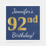 [ Thumbnail: Blue, Faux Gold 92nd Birthday + Custom Name Paper Napkin ]