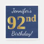 [ Thumbnail: Blue, Faux Gold 92nd Birthday + Custom Name Paper Napkin ]