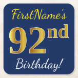 [ Thumbnail: Blue, Faux Gold 92nd Birthday + Custom Name Paper Coaster ]