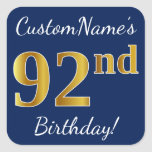 [ Thumbnail: Blue, Faux Gold 92nd Birthday + Custom Name Sticker ]