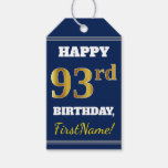 [ Thumbnail: Blue, Faux Gold 93rd Birthday + Custom Name Gift Tags ]