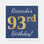 [ Thumbnail: Blue, Faux Gold 93rd Birthday + Custom Name Napkin ]