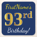 [ Thumbnail: Blue, Faux Gold 93rd Birthday + Custom Name Paper Coaster ]