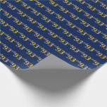 [ Thumbnail: Blue, Faux Gold 93rd (Ninety-Third) Event Wrapping Paper ]