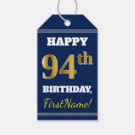 [ Thumbnail: Blue, Faux Gold 94th Birthday + Custom Name Gift Tags ]