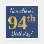 [ Thumbnail: Blue, Faux Gold 94th Birthday + Custom Name Paper Napkin ]