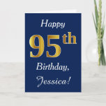 [ Thumbnail: Blue, Faux Gold 95th Birthday + Custom Name Card ]
