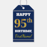 [ Thumbnail: Blue, Faux Gold 95th Birthday + Custom Name Gift Tags ]