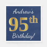 [ Thumbnail: Blue, Faux Gold 95th Birthday + Custom Name Napkin ]